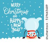 christmas card with snowman ... | Shutterstock .eps vector #519665689