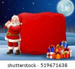 cartoon santa clause pulling... | Shutterstock .eps vector #519671638