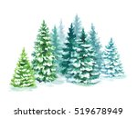 Watercolor Coniferous Forest...