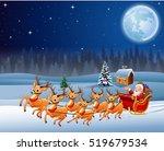 santa claus rides reindeer... | Shutterstock .eps vector #519679534