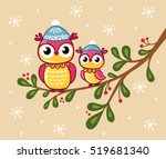 two owls in hats sit on a... | Shutterstock .eps vector #519681340