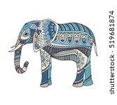 indian elephant in traditional... | Shutterstock .eps vector #519681874