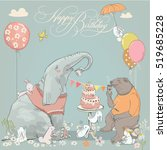 birthday card with cute bear ... | Shutterstock .eps vector #519685228