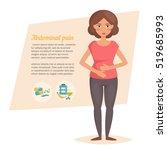 stomach pain. vector. cartoon... | Shutterstock .eps vector #519685993