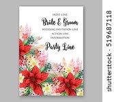 poinsettia wedding invitation... | Shutterstock .eps vector #519687118