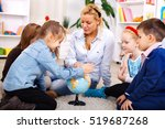 children are learning geography  | Shutterstock . vector #519687268