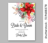 poinsettia wedding invitation... | Shutterstock .eps vector #519688378