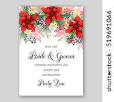 poinsettia wedding invitation... | Shutterstock .eps vector #519691066
