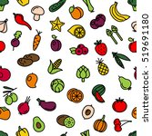 vegetables and fruit seamless... | Shutterstock .eps vector #519691180