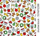 colourful christmas seamless... | Shutterstock .eps vector #519691288