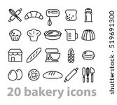 twenty bakery icons collection | Shutterstock .eps vector #519691300