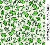 green hergbs seamless pattern | Shutterstock .eps vector #519691360