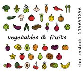 vegetables and fruits colourful ... | Shutterstock .eps vector #519691396