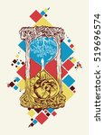 hourglass tattoo art color... | Shutterstock .eps vector #519696574