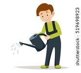young smiling boy volunteer is...   Shutterstock .eps vector #519698923