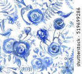 floral watercolor pattern ... | Shutterstock . vector #519699286