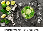 cocktail juice with lime  mint... | Shutterstock . vector #519701998