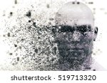 man face with pixel dispersion... | Shutterstock . vector #519713320