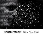 man face blended with flowing... | Shutterstock . vector #519713413