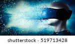 Stock photo into virtual reality world man wearing goggle headset future technology d rendering 519713428