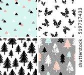 a set of four winter seamless...   Shutterstock .eps vector #519717433