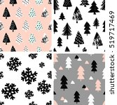 a set of four winter seamless... | Shutterstock .eps vector #519717469