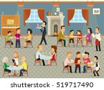 people relax in the cafeteria.... | Shutterstock .eps vector #519717490