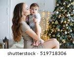 portrait of happy mother and... | Shutterstock . vector #519718306