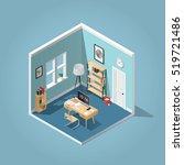 home office concept isometric... | Shutterstock .eps vector #519721486