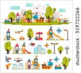 children playground. swings ...   Shutterstock . vector #519722266