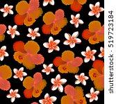 tropical flowers  hibiscus... | Shutterstock .eps vector #519723184