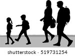 silhouette family on a walk. | Shutterstock .eps vector #519731254