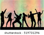 dancing people silhouettes.... | Shutterstock .eps vector #519731296