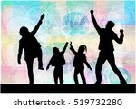 family silhouettes . abstract... | Shutterstock .eps vector #519732280