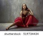 portrait of slim young girl... | Shutterstock . vector #519734434