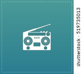 classic 80s boombox. white flat ... | Shutterstock .eps vector #519735013