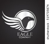 winged eagle bird silver logo | Shutterstock .eps vector #519735874