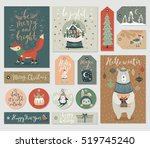 christmas cards and tags set ... | Shutterstock .eps vector #519745240