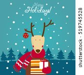 cute winter holiday card with... | Shutterstock .eps vector #519745528
