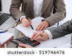 two female accountants counting ... | Shutterstock . vector #519746476