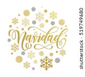 christmas in spanish greeting.... | Shutterstock .eps vector #519749680