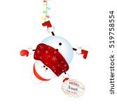 cute  funny cartoon snowman... | Shutterstock .eps vector #519758554