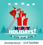 funny santa claus up the stairs ... | Shutterstock .eps vector #519760984
