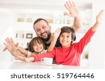 happy father and son at modern... | Shutterstock . vector #519764446