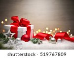 christmas scene with a white... | Shutterstock . vector #519767809