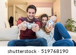 young couple having fun playing ...   Shutterstock . vector #519768190