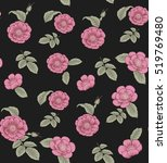 seamless pattern with roses and ... | Shutterstock .eps vector #519769480