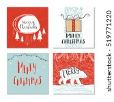 set of 4 cute gift cards and... | Shutterstock .eps vector #519771220