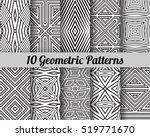 set of 10 geometric patterns.... | Shutterstock .eps vector #519771670