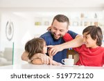 happy father and son at modern... | Shutterstock . vector #519772120